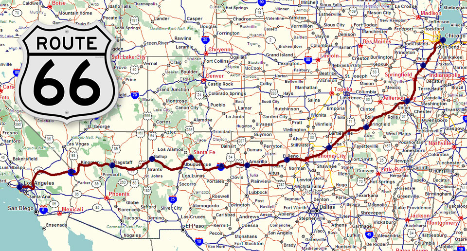 Detailed Route 66 Map >> Route 66 Highway Map Pictures to Pin on Pinterest - PinsDaddy